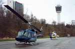 """(Thumbnail) Helicopters from the Movie """"The Long Kiss Goodnight"""" parked at Queen Victoria Park, Sheraton Fallsview Hotel and the Minolta Tower in background (image/jpeg)"""