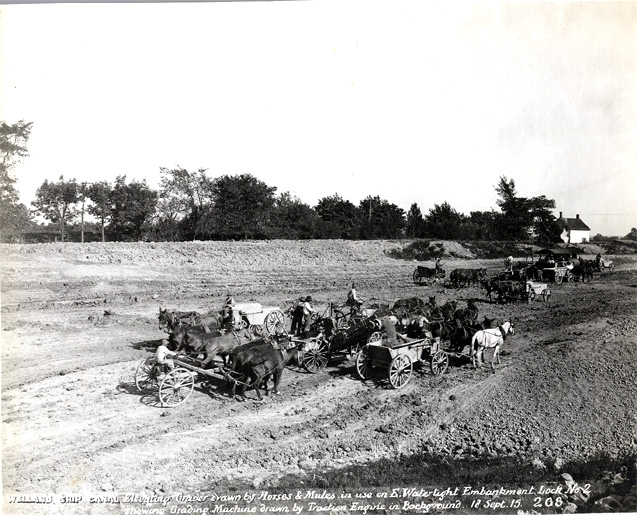 Elevating grader drawn by horses and mules - Welland Canal (image/jpeg)