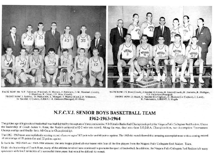 Niagara Falls Sports Wall of Fame - NFCVI Senior Boys Basketball Team 1962 -1963 - 1964 (image/jpeg)
