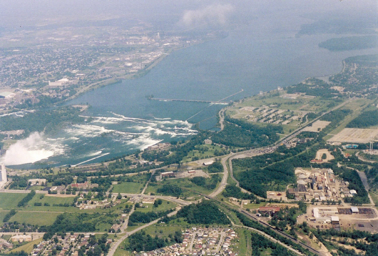 Aerial View of the Upper Niagara River & Rapids, and the International Control Dam (image/jpeg)
