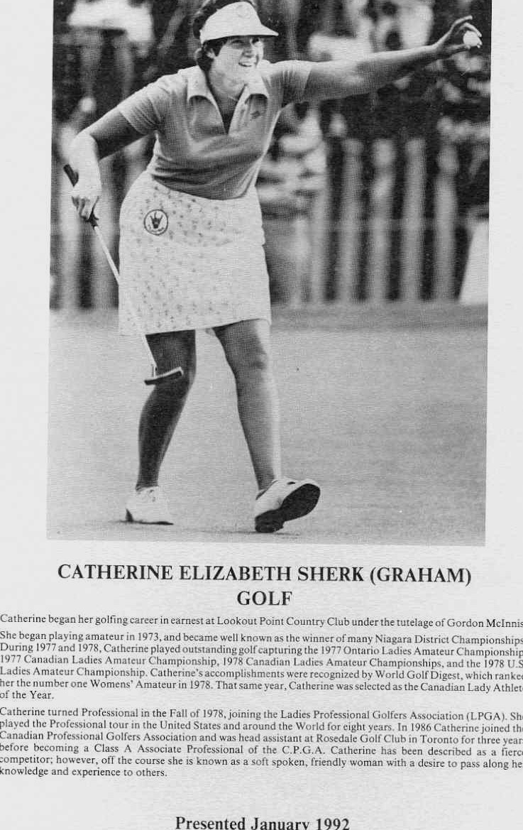 Niagara Falls Sports Wall of Fame - Catherine Elizabeth Sherk (Graham) Golf (image/jpeg)