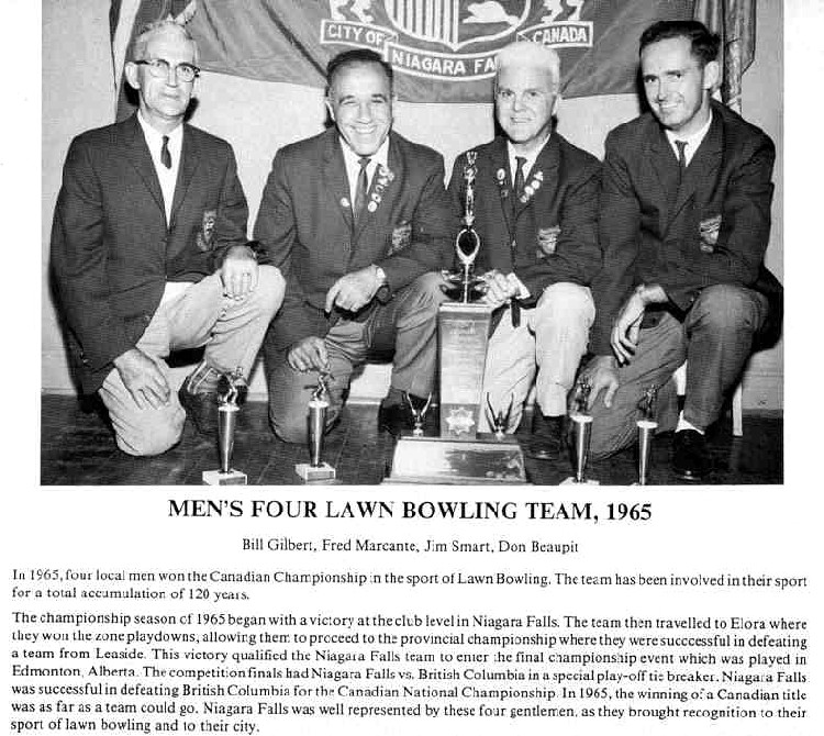 Niagara Falls Sports Wall of Fame - Men's Four Lawn Bowling Team 1965 era 1951 - 1970 (image/jpeg)