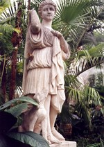 (Thumbnail) Niagara Parks Commission Butterfly Conservatory - interior view - statue of boy & dog (image/jpeg)
