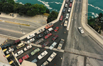 (Thumbnail) Aerial View of the Traffic on the Rainbow Bridge entering the U.S. (image/jpeg)