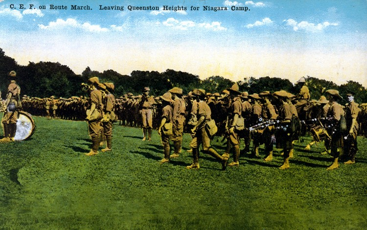 CEF [Canadian Expeditionary Forces] on route march. Leaving Queenston Heights for Niagara Camp (image/jpeg)