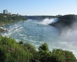 (Thumbnail) Lower Niagara River with American Falls, Rainbow Bridge and Maid of the Mist (image/jpeg)