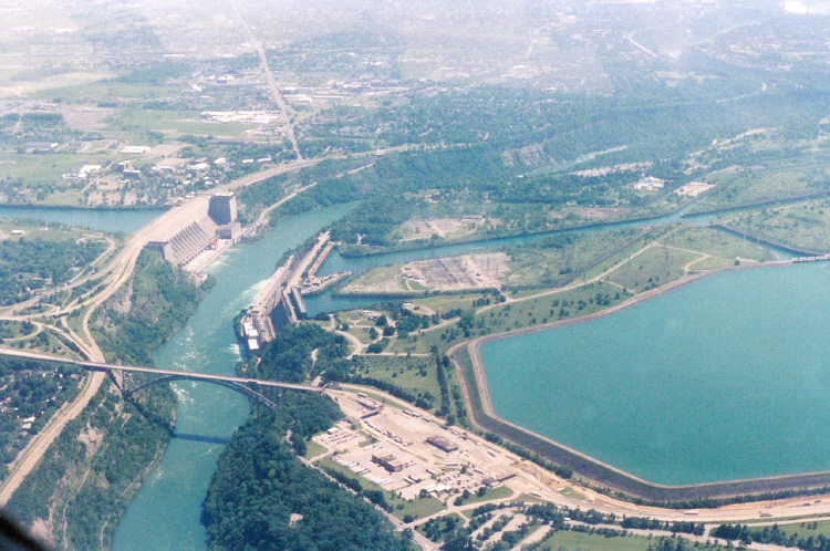 Aerial View of the Queenston Reservoir, Robert Moses Power Plant, and the Lower Niagara River (image/jpeg)