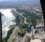 (Thumbnail) Aerial view of the City of Niagara Falls and the Horseshoe Falls from a helicopter (image/jpeg)