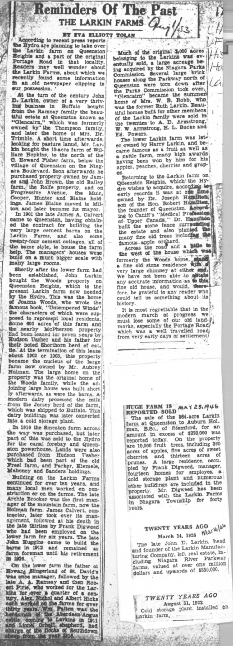 Reminders of the Past - newspaper clipping relating to sale of Larkin farm in Queenston Heights (image/jpeg)