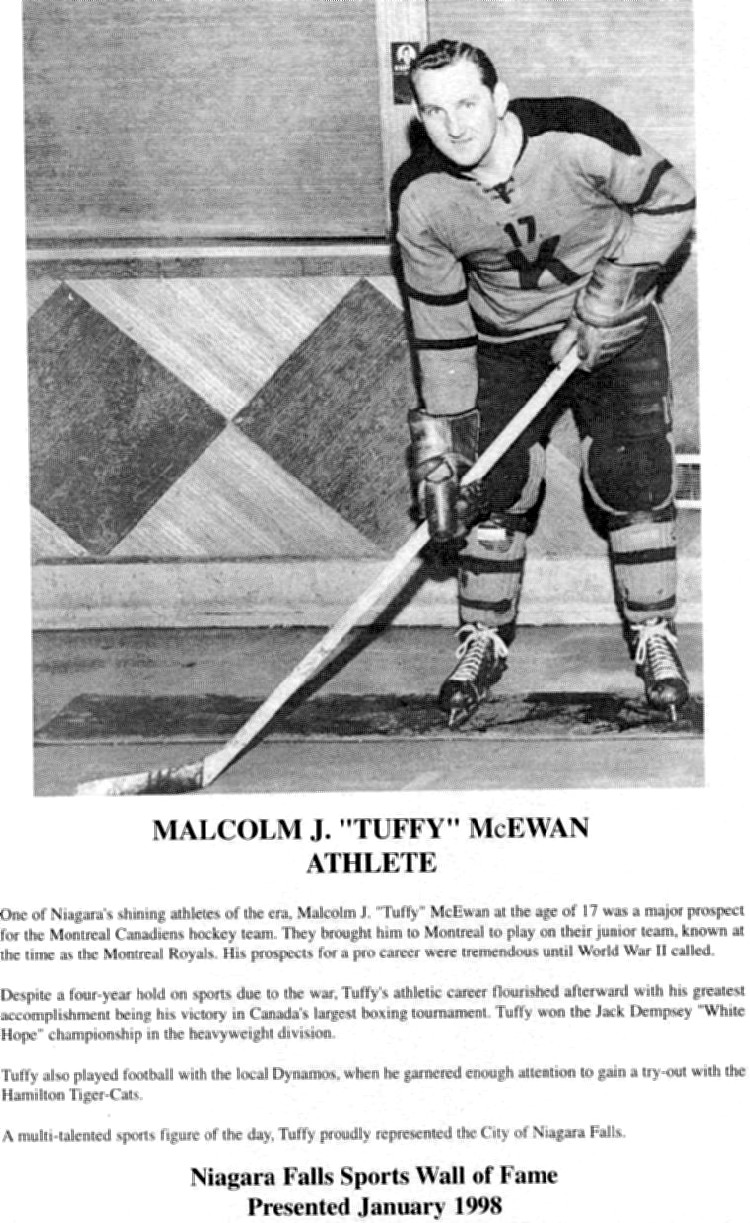 Niagara Falls Sports Wall of Fame - Malcolm J (Tuffy) McEwan Athlete era 1931 - 1950 (image/jpeg)