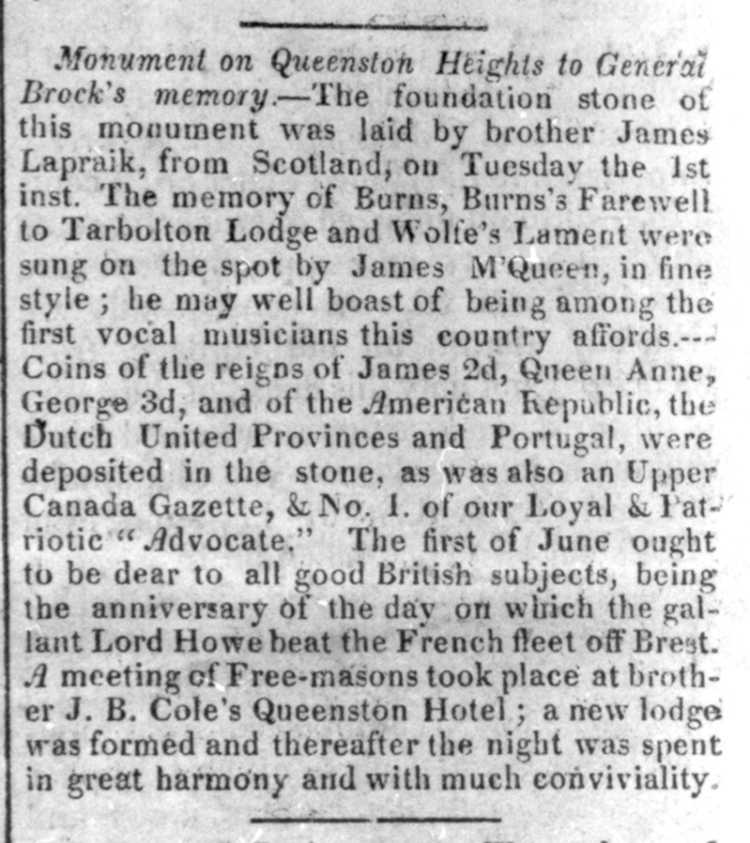 A Newspaper Ad relating to Queenston Heights - Queenston, Ontario (image/jpeg)