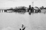 (Thumbnail) Canoeing and bathing at Chippawa - Railway bridge in background (image/jpeg)