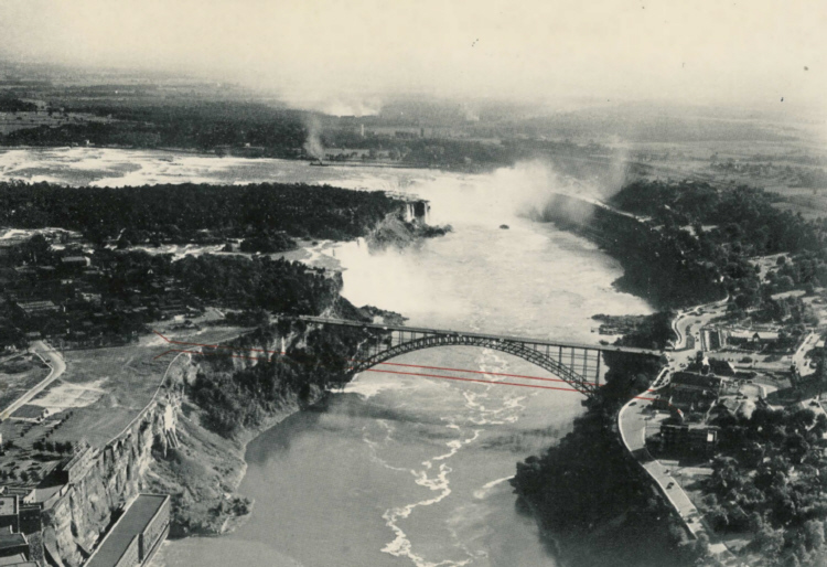 Aerial View of the Proposed Niagara Falls Observation Bridge with Fallsview Bridge and the Falls (image/jpeg)