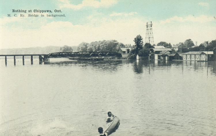Bathing at Chippawa M C Ry  [Michigan Central Railway] Bridge in background (image/jpeg)