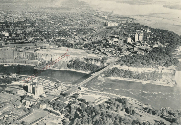 Aerial View of the Proposed location of the Niagara Falls Observation Bridge (image/jpeg)