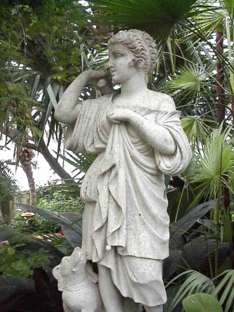 """Statue with """" real """" Butterfly Earrings, in the Butterfly Conservatory (image/jpeg)"""