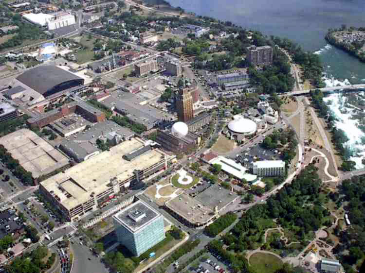 Aerial View Of The City Of Niagara Falls Ny Seen From A
