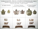 (Thumbnail) World War I 1914-1918 Canadian Expeditionary Force Battalions Perpetuated by the present-day Lincoln & Welland Regiment (Cap & Collar Badges, Shoulder Insignia) (image/jpeg)