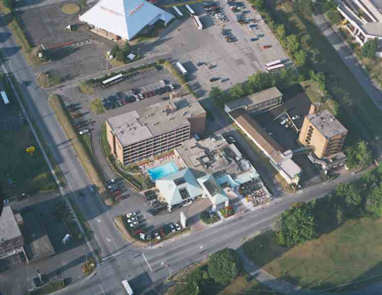 Aerial View of Holiday Inn and the Imax Theatre (image/jpeg)