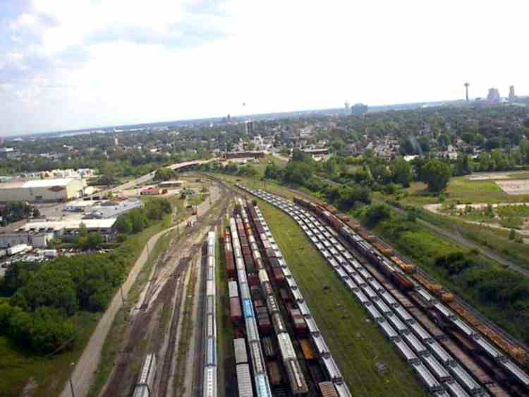 Aerial view of the CN train yard from a Helicopter (image/jpeg)