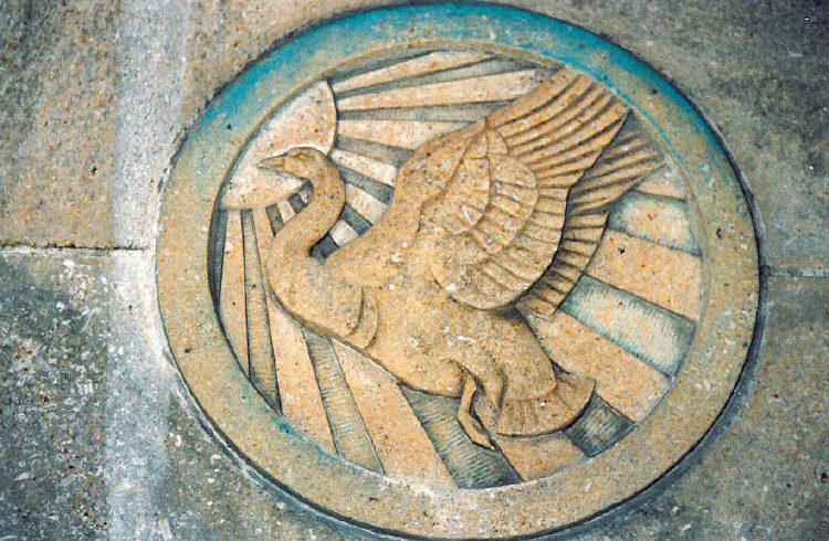 Stone Carvings of a Bird etched on the Carillon Tower (image/jpeg)