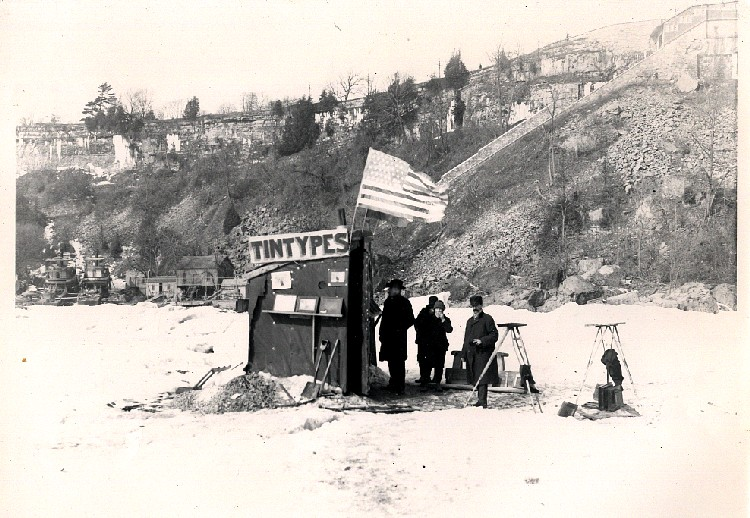 Photographer's shanty on the ice bridge in the early 1890's (image/jpeg)
