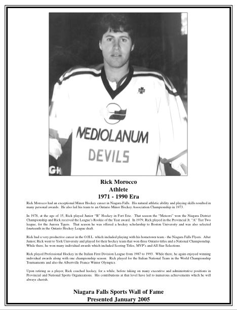 Niagara Falls Sports Wall of Fame - Rick Morocco Hockey - 1971 - 1990 era (image/jpeg)