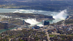 (Thumbnail) Aerial View of Both Falls, the Niagara River and Niagara Falls Tourist Area (image/jpeg)