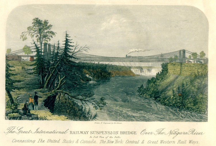 The great international Railway Suspension Bridge over the Niagara River in full view of the Falls connecting the United States &amp; Canada, the New York Central &amp; Great Western Railways (image/jpeg)