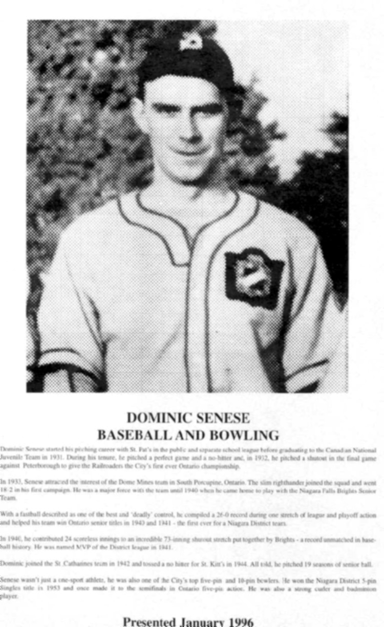 Niagara Falls Sports Wall of Fame - Dominic Senese Athlete Baseball and Bowling (image/jpeg)