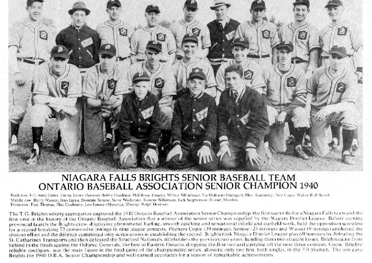 Niagara Falls Sports Wall of Fame - Brights Senior Baseball Team era 1900 - 1950 (image/jpeg)