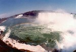 (Thumbnail) Aerial view of the Horseshoe Falls, the American Falls, and the Rainbow Bridge (image/jpeg)