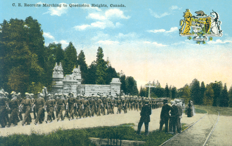 CE [Canadian Expeditionary Forces] recruits marching to Queenston Heights Canada (image/jpeg)