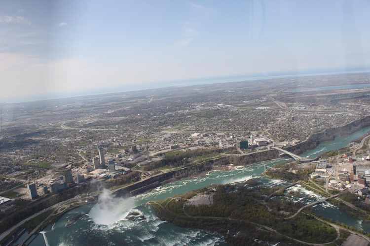Aerial View of the Niagara River, the Horseshoe Falls and the American Falls (image/jpeg)
