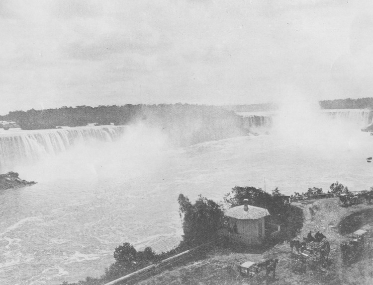 The American and Horseshoe Falls - Ferry landing and waiting carriages in foreground on the Canadian side (image/jpeg)