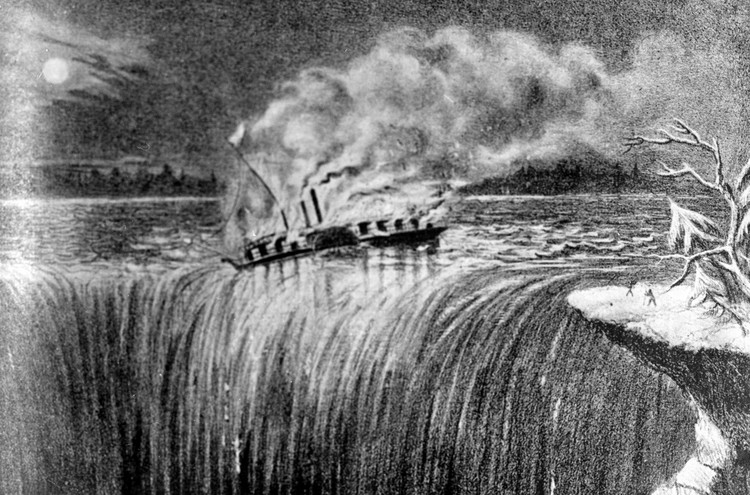 Artists sketch of the Steamer Caroline on Fire at the brink of the Horseshoe Falls (image/jpeg)