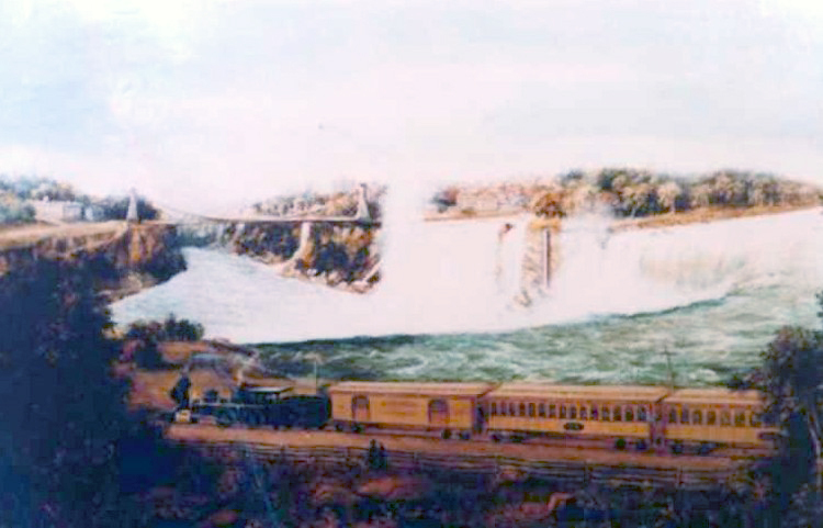 Train of the Canadian Southern Railway at Niagara Falls with the Horseshoe Falls in the background (image/jpeg)