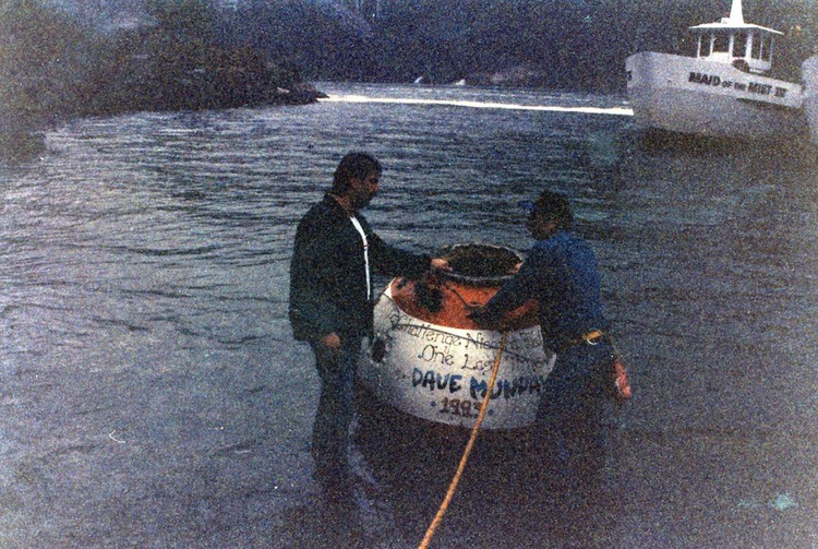 """Barrel used by John """"David"""" Munday to go over the Horseshoe Falls 1993 - Maid of the Mist in the background (image/jpeg)"""