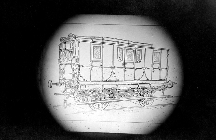 Copy of a line drawing of a railway car used on the Chippawa-Queenston Railway 1830s (image/jpeg)