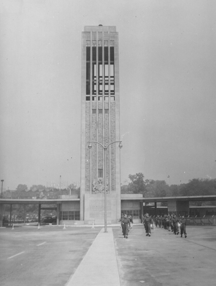 Soldiers marching to the Rainbow Bridge, Carillon Tower (centre) (image/jpeg)