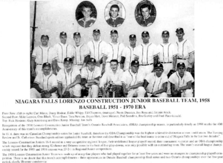Niagara Falls Sports Wall of Fame - Lorenzo Construction Junior Baseball Team 1958 (image/jpeg)